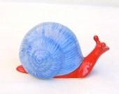 Garden Snail Sculpture in Stoneware with Light Blue and Red Glaze (medium)