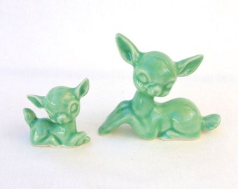 Ceramic Deer Pair Doe and Fawn in Mint Green