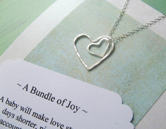 Baby Shower Gifts For Mommy To Be ~ New mom necklace mommy jewelry includes poem card sterling