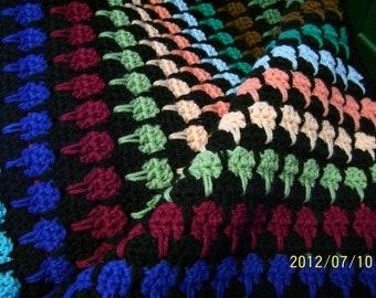 hand crochet bed size afghan  78 x 80 multi color larksfoot pattern