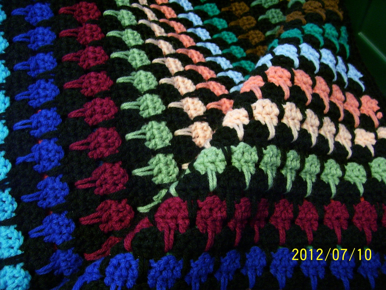 Hand Crochet Bed Size Afghan 78 X 80 Multi Color Larksfoot Pattern