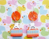 Cable Cars - Red Button and Charm Earrings REDUCED ON SALE