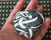 tangled up- ooak abstract art drawing brooch