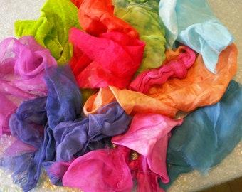 Silk Treasure Bag - Brights, silk scraps, silk fabric scraps