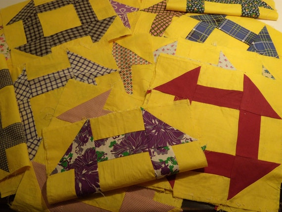 "29 Vintage Churn Dash Quilt Blocks. 10"". Yellow and Colorful Prints 1940's."