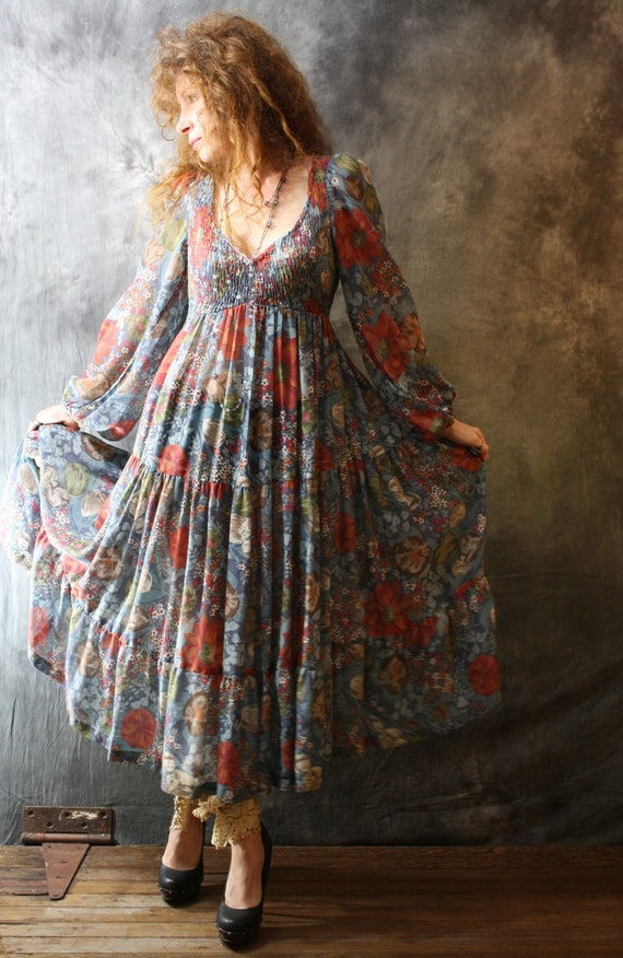 15% off SALE Use Coupon Code Sunflower7  Vintage 1970s Romantic Peasant Hippie Gypsy Dress , Gauzy Sheer with Tiered Skirt