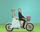 Custom Wedding Cake Topper Couple on Double Bike with Basket of Flowers