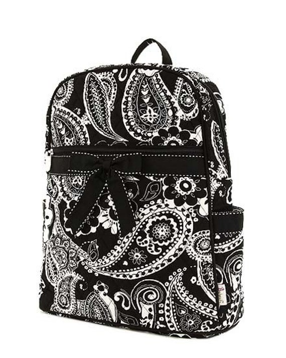 Large Black and White Paisley Backpack with Monogram