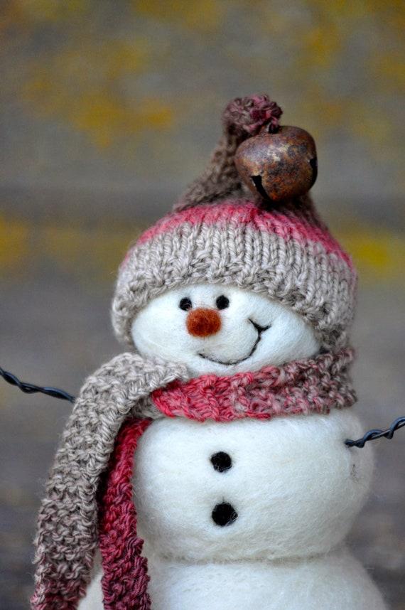 Needle Felted Snowman -  Wool Snowmen - Christmas 112