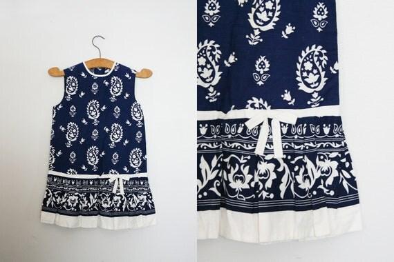 ON SALE vintage 60s Paisley Bandana Print Drop Waist Pleated Girls Navy Blue Sleeveless Dress