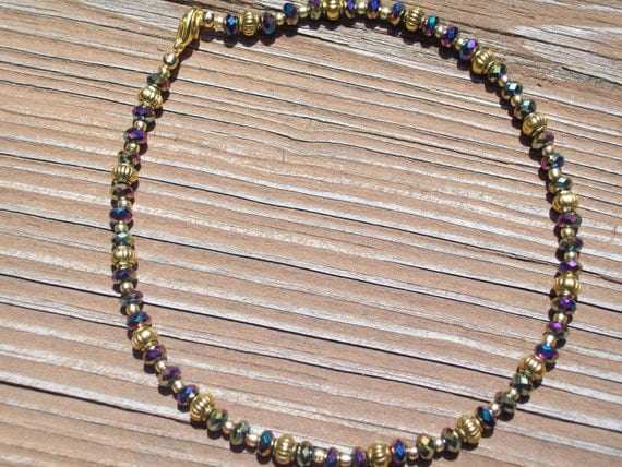 Gold and Purple/Rainbow Crystal Anklet (Ankle Bracelet) by hipknitta