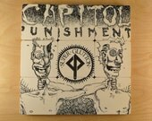 CAPITOL PUNISHMENT upcycled Super Gluten album cover coasters and warped record bowl