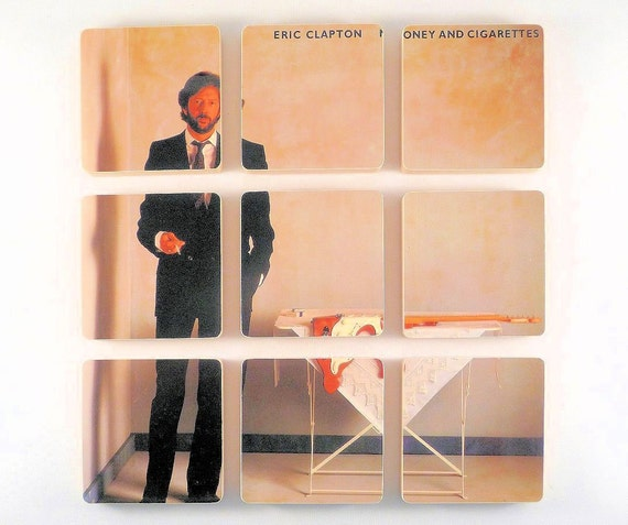 ERIC CLAPTON Record Album Coaster Set created from Money and Cigarettes LP