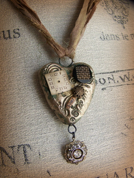 Handmade Valentine Jewelry Mixed Media  Statement Necklace Vintage Mixed Media Vintage Necklace Heart Pendant Wearable Art