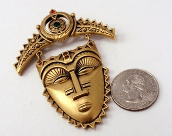 Vintage Avon Golden Tribal Mask Happy Nubian Queen Priestess Ethnic Brooch Circa Early 90's Collectable Gift C3