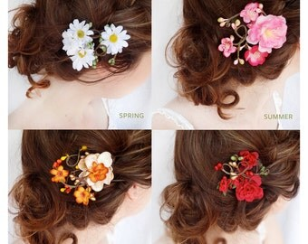 flower hair clips, gift set - daisy flower hair clip, pink cherry blossom, autumn hair accessory, red rose hair clip