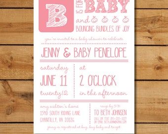 Printable Baby Shower Invitation for a Baby Girl - B is for Baby