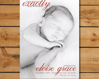 Christmas Birth Announcement -  Santa Brought...Custom Holiday Birth Announcement Vertical
