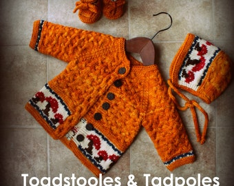 TOADSTOOLS & TADPOLES Baby Cabled Cardiagn Booties Cap Knitting Pattern PDF