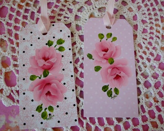 Gift Hang Tags Set of 2 Hand Painted Chic Pink Roses