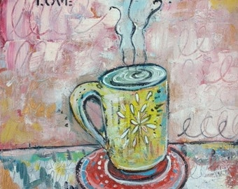 Cafe Love Original Painting 11 x 14