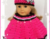 Doll Clothes Made For American Girl Doll, Crochet HOT PINK Sparkle Poncho Set, 18 Inch Doll Clothes
