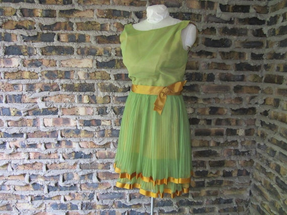 Reserved for Siona // Vintage 1950s Cocktail Party Dress - Lee Jordan Avocado Green & Gold Pleated Dress - Mad Men Style - size Medium