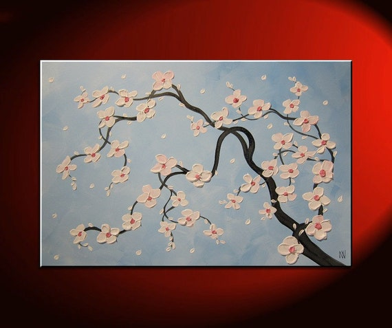 Impasto Flower Painting Modern Abstract Art Floral Landscape Painting Large Textured Blossoms Soft Blue White Pink 36x24