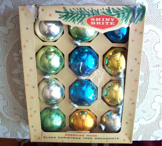 Shiny Brite Christmas Ornaments 1950s Qty 12 Bright Glass Blue Green Holiday Decor