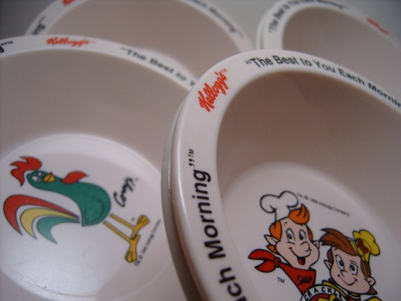"Kellogg's Vintage Cereal Bowls ""The Best to You Each Morning""   Tony    Tucan   Corny   Snap, Crackle, Pop"