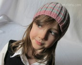 "SALE! Stretchy Beanie Hat- Children's- Pink and Sage Ribbed Hat- Size Child (18-20"" head)"