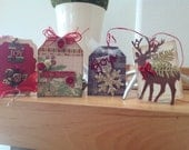 NEW Vintage Inspired Christmas Tags Set of Four