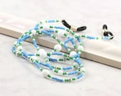 Blue Eyeglass Holder Office Fashion Beaded Lanyard White Eyeglass Leash Green Eyeglass Chain Silver Eyeglass Lanyard