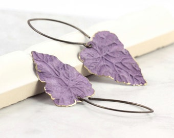 Leaf Earrings Lavender Brass Patina Handmade Ear Wires Woodland Jewelry Mothers Day Jewelry