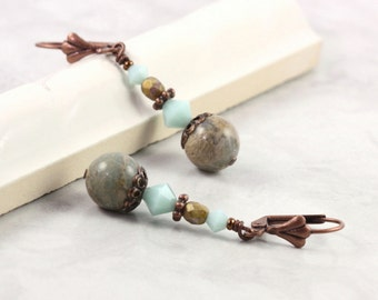 Aqua Terra Jasper Earrings Mint Green Crystal Mediterranean Style Rustic Jewelry