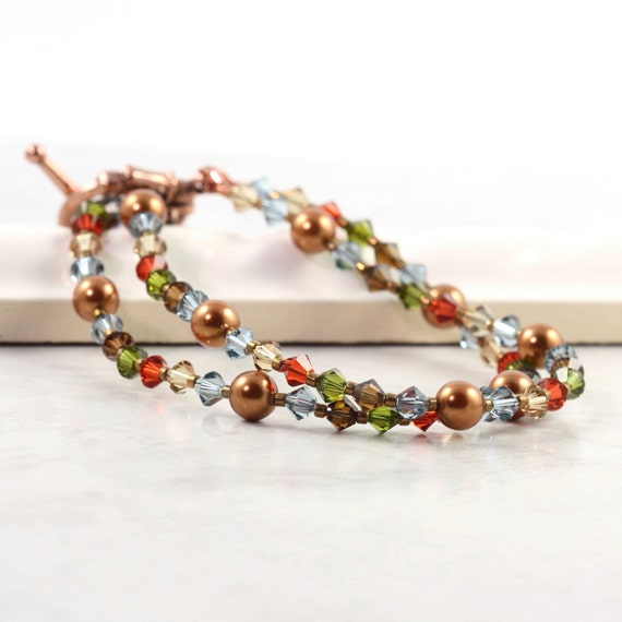 Autumn Colors Bracelet / Copper Jewelry / Rustic Red / Olive Green / Golden Topaz / Meadow Blue / Fall Fashion Jewelry / Crystal Bracelet