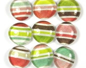 Glass Marble Magnets or Push Pins Set- Cupcake Stripe