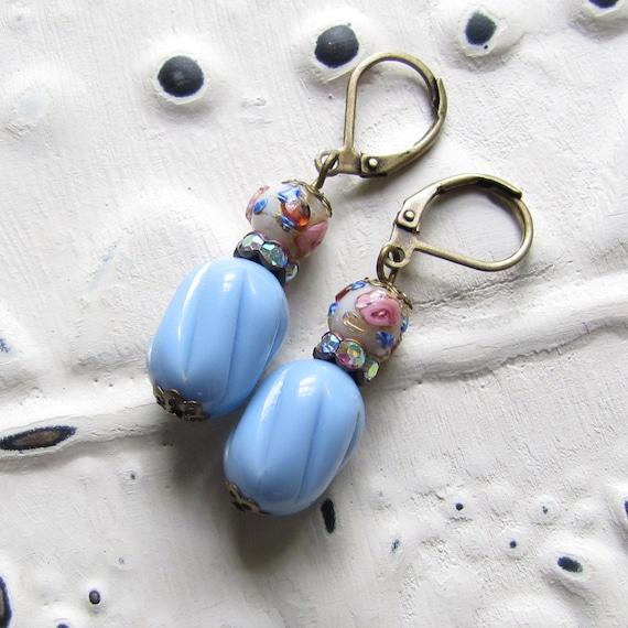 Vintage Baby Blue Earrings Flowers and Rhinestones