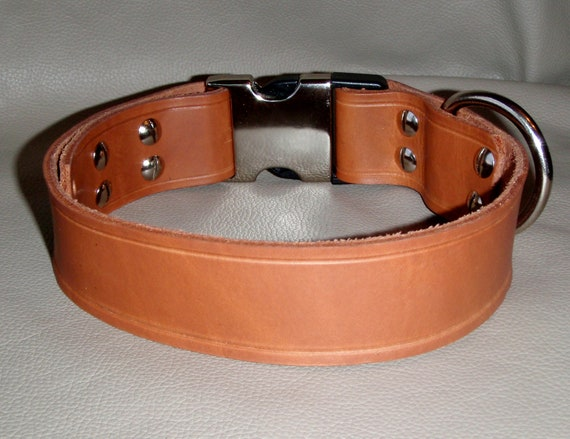 SALE 1.5 inch width Natural Leather Collar with Adjustable Quick Release Buckle Fits 17 to 20 inches