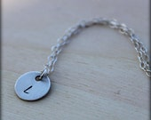 FREE SHIPPING. Stamped Initial. Silver Circle.