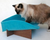 Cat Bed in Turquoise Velveteen: Modern Retro Pet Lounge