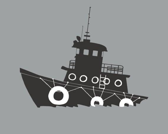 Tugboat Art Print, NAUTICAL Room Decor, Baby Boy NURSERY - SALE