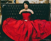 Red BallGown Wedding Dress - Gothic Cinderella- Fairytale Red Silk Black Lace- Corset Top - Off the Shoulder Sleeves-Custom to your size