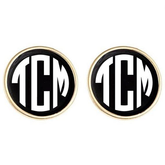Monogrammed Earrings Black Enamel with Personalized