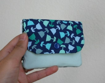 Floral Card Wallet with Zipper- Blue