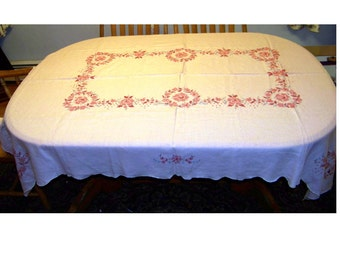 Vintage Pink linen tablecloth embroidery roses cottage chic 54X74