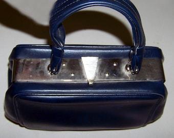 50s Navy handbag silver clasp by Dova