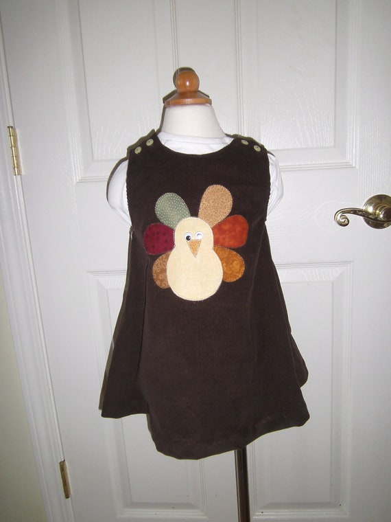 Girls Corduroy Turkey Jumper, Handcrafted, Fall Dress, Toddler Dress, Holiday Dress, Brown Dress, Baby Dress, Toddler Dress, Tween Dress
