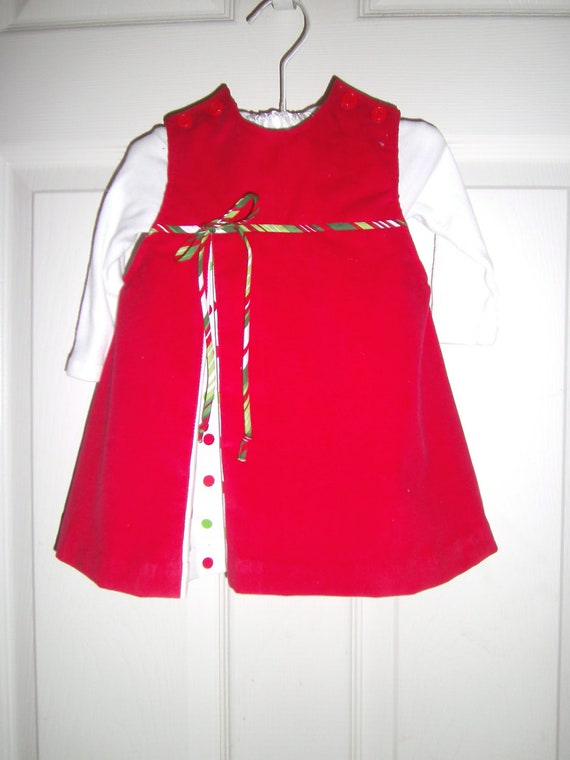 Girls Christmas Dress Handmade,Jumper, Red Corduroy, 6 months