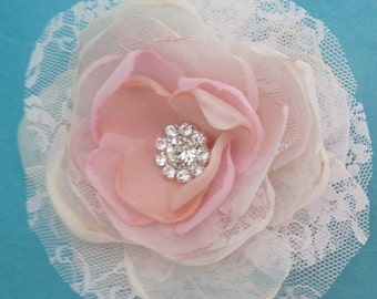 Blush Pink Lace, Organza Rose Hair Clip H043 bridal hair accessory